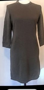 BARNEYS Olive Green 100% Cashmere Sweater Dress, M
